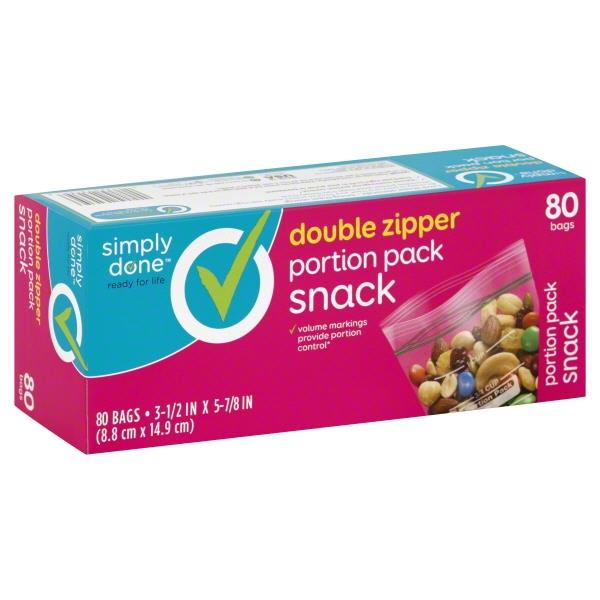 Simply Done Double Zipper Portion Pack Snack Bags
