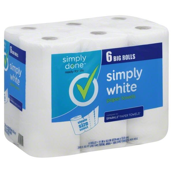 Simply Done Simply White Simple Size Select Paper Towels