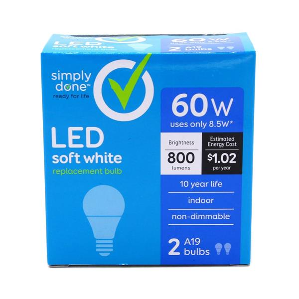 Simply Done 60W LED Soft White Light Bulbs