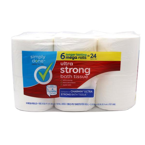 Simply Done Ultra Strong Bath Tissue Mega Rolls