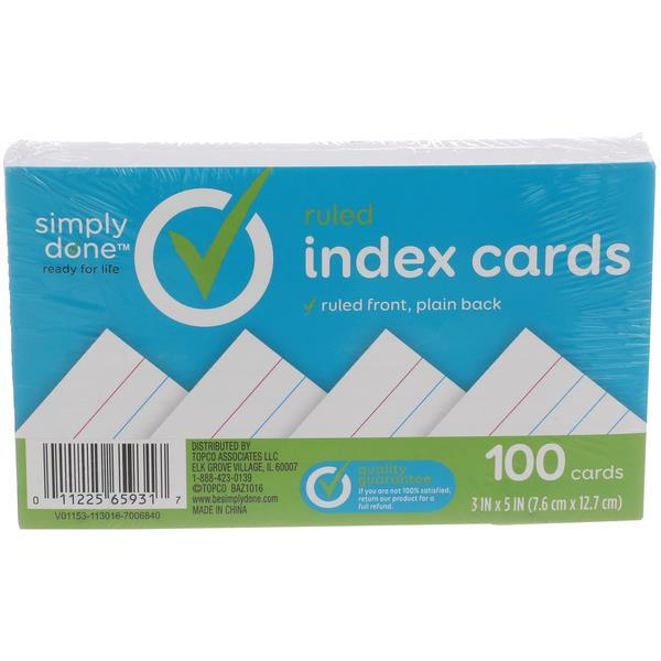Simply Done 3x5 Index Cards, Ruled Front Plain Back