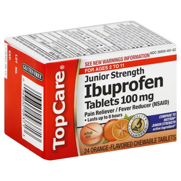 TopCare Junior Strength Ibuprofen 100mg Tablets Orange Flavor
