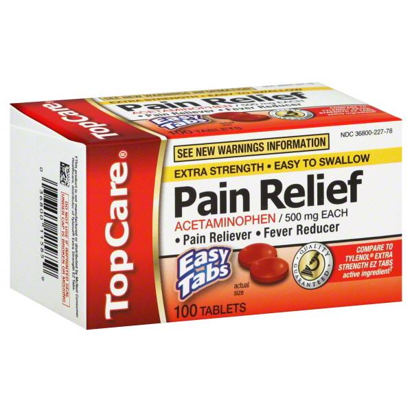 topcare pain relief acetaminophen 500mg tablets hy vee aisles