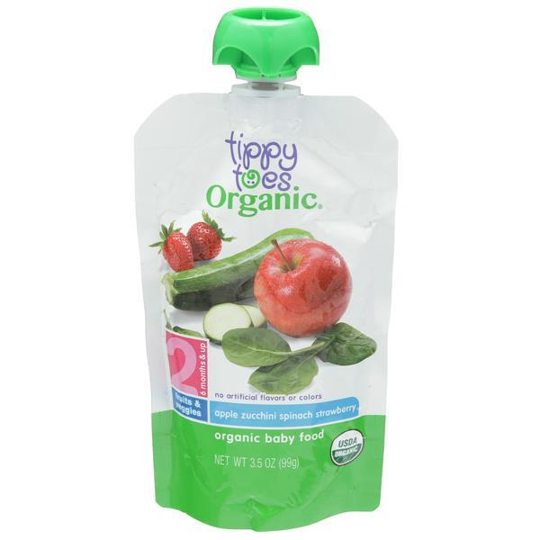 Tippy Toes Organic 2 Apple Zucchini Spinach Strawberry