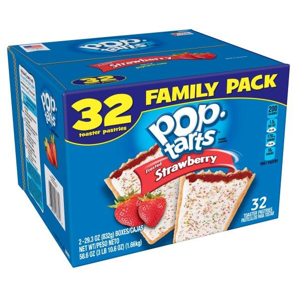 Kellogg's Pop Tarts Frosted Strawberry Toaster Pastries 32Ct