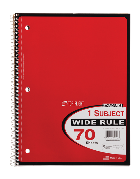 Top Flight 1 Subject Wide Rule Notebook 70 Sheets