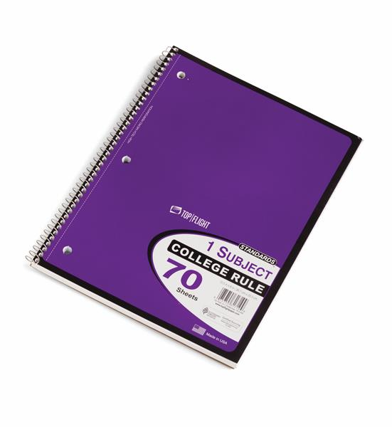 Top Flight 1 Subject College Rule Notebook 70 Sheets