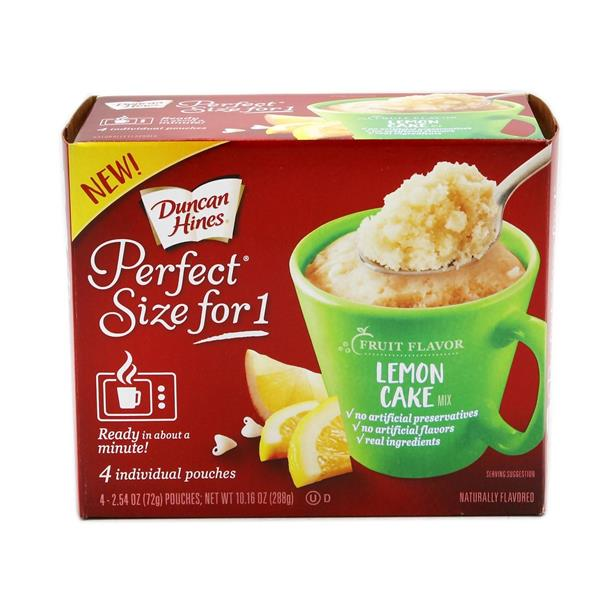 Duncan Hines Perfect Size for 1 Lemon Cake 4 - 2.54 oz Pouches