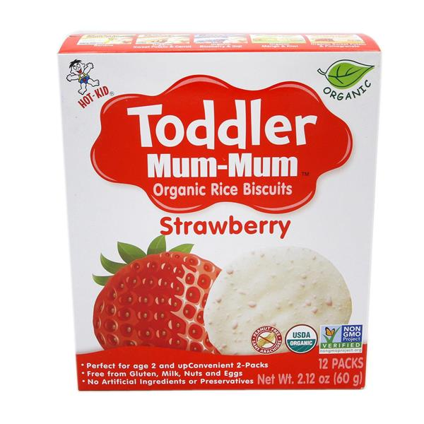 Toddler Mum-Mum Strawberry Organic Rice Biscuits 12Pks