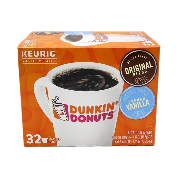 Dunkin Donuts Original Blend & French Vanilla K-Cups Variety Pack 32 - .37 oz