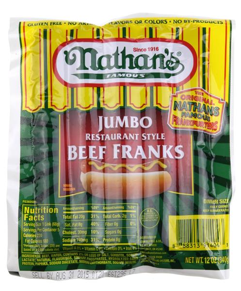 Nathan S Jumbo Restaurant Style Hot Dogs